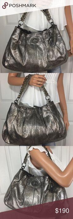 Rare Coach Metallic Hamptons Chain Handbag New and RARE Coach Metallic Leather Multi Chain Strap Handbag. Large Size. Huge Interior. Dust bag . Hampton collection . Style # 15973 . Limited Edition Bag. Coach Bags Shoulder Bags