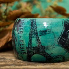 Parisian Bangle Bracelet: Blue Turquoise, Paris, Shabby Chic, Painted, Eiffel Tower, Wide Bangle, Statement Jewelry