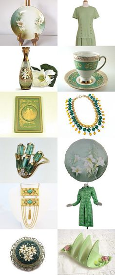 Greenery for Spring by vintagelinens on Etsy--Pinned+with+TreasuryPin.com