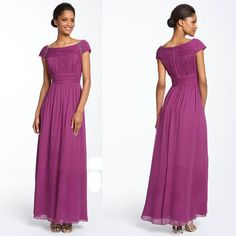 Fuchsia Chiffon Wedding Guest Mother of the Bride Dress Gown Custom SKU-1040012