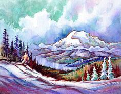 South Sister From the Outback Exprerss - Mt. Bachelor Oregon. ORIGINAL Watercolor Painting by Michael David Sorensen. Mountain. Snowboarder