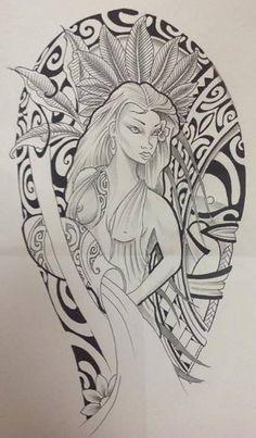 Dessin de Femme Polynésienne pour Tattoo Maori                                                                                                                                                                                 Plus