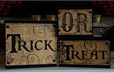 Trick or Treat Wood Blocks--background paper from Graphic Fairy, words printed with Pieces of Eight font