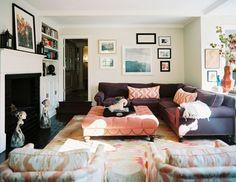 Lonny grey sofa/peach ottoman