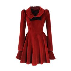 Dark Red Bowknot Pleats Woolen Dress ($146) ❤ liked on Polyvore featuring dresses, vestidos, jackets, coats and outerwear