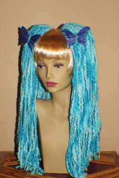 Sale Aqua Blue color fade yarn hair falls