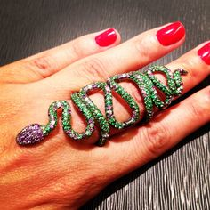 Snake ring jewelry set with green garnets by Andre Marcha