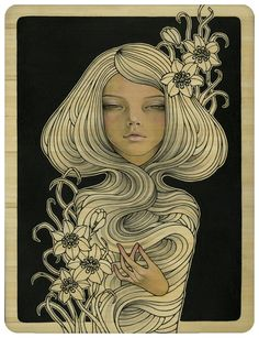Audrey Kawasaki. I'm obsessed with this artist.  Some of her stuff I probably couldn't hang in my house with little ones running around... but I love her style.