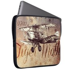 #DH.82 Tiger Moth Vintage Biplane Laptop Sleeve - customized designs custom gift ideas