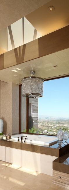 Gorgeous master bath with a view.