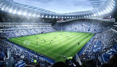 """English Premier League club Tottenham Hotspur has revealed new images of its forthcoming home at White Hart Lane, which it has billed as """"the most unique sports and entertainment destination . London Football, Uk Football, Football Stadiums, Football Field, England Football, American Football, European Football, White Hart Lane, Premier League"""