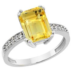 14K White Gold Natural Citrine Ring Octagon 10x8mm Diamond Accent, sizes 5 to 10 * Quickly view this special  product, click the image : Promise Rings Jewelry