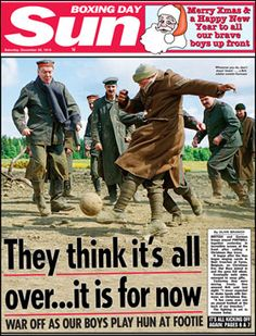 1914: On Christmas Day, warring Britain and Germany call a truce to play football