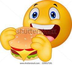 Emoticon smiley eating hamburger