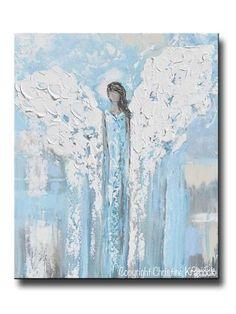"ORIGINAL Angel Painting Abstract Light Blue Guardian Angel Textured Home Decor Spiritual Wall Art 20x24"""