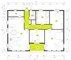KUĆA IZ SNOVA: Fantastična montažna kuća sa 3 spavaće sobe i terasom (UNUTRAŠNJOST + DETALJAN PLAN) - Moja kuća i vrt House Construction Plan, Sweet Home, Floor Plans, House Design, How To Plan, Bacon, Cottage, Houses, Apartments