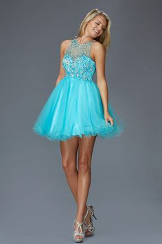 Prima Bella Exclusive Collection G2074 Jeweled High Neck Homecoming Cocktail Dress. Available in Coral, Pink, Mint and Turquoise.