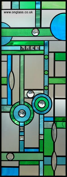 blue & green deco with jewels stained glass