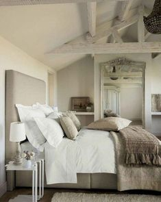 Shabby chic look is dependant on using pieces of furniture and furnishings which can be time, worn and comfortable that can maintain basic and practic... Rustic Bedroom Design, Farmhouse Master Bedroom, Master Bedroom Makeover, Master Bedroom Design, Bedroom Designs, Modern Bedroom, Contemporary Bedroom, Bedroom Neutral, Master Suite