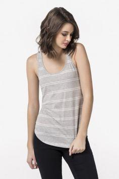 Heather grey & white striped racerback tank - Clothing