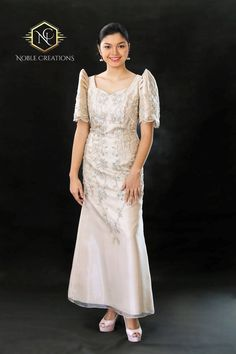 *Please refer to size chart found at end of picture gallery to avoid unnecessary returns leading to Modern Filipiniana Dress, Filipiniana Wedding, Wedding Gowns, Philippines Dress, Barong Tagalog, Maria Clara, Grad Dresses, Long Dresses, Formal Gowns