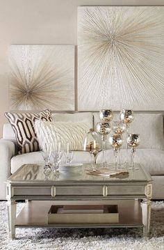 Refine with Shimmer: The Empire Coffee Table + Del Mar Sectional - Modern Design Salon, Deco Design, Living Room Inspiration, Home Decor Inspiration, Decor Ideas, Decorating Ideas, Art Ideas, Beige Living Rooms, Living Room Decor Gold