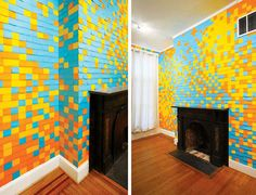post it! http://www.apartmenttherapy.com/look-vibrant-post-it-notes-wal-57796