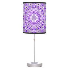 Violet Lace, Abstract Purple Mosaic Mandala Table Lamp $44.95