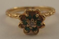 Dainty Estate Emerald Diamond 14k Yellow Gold Cocktail Ring