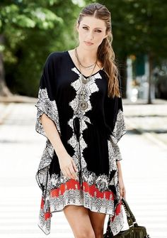 Zoe Printed Angel-Sleeve Dress from Alloy on Catalog Spree, my personal digital mall.