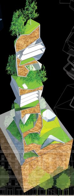 """Earth Tank Tower turns Paris into a Green Utopia   Luis Fernandes, Cyrille Lallement and Brice Doltaire have designed the """"Earth Tank Tower"""" to boldly bring nature back to Paris' city streets. Citing the past innovation of bringing landscaped boulevards to the city in the 19th century as past precedent, the architects create startling images by placing their modern living Tower within the city's historic fabric."""