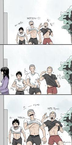 Nishinoya, Tanaka and Yamamoto.. Gotta love these freaks