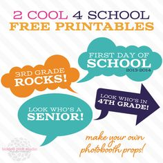 2 Cool 4 School Printable Photo Booth by Tickled Pink Studio