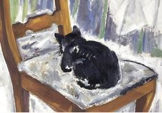 Mikhail Fedorovich Larionov, Cat on a chair. 1911.