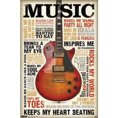"""Poster 22""""X35""""-Music Inspires Me"""