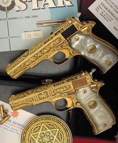Pimping Weapons Daily — Set of gold damascened Star pistols with pearl. Weapons Guns, Guns And Ammo, Armas Wallpaper, Armas Ninja, Gun Art, Shooting Guns, Custom Guns, Cool Guns, Fantasy Weapons