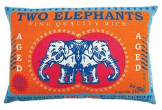 Two Elephants Rice 13x20 Pillow, Multi