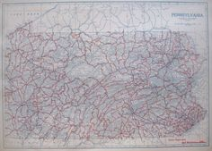 c1920 PENNSYLVANIA Map AUTO TRAILS Map Neat RED WHITE & BLUE Vintage 1920s Map