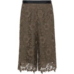 Manon Baptiste Khaki-Green Plus Size Lace coulottes ($275) ❤ liked on Polyvore featuring plus size