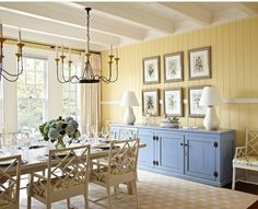 Love the chair rail around the room in this paneled dining room.