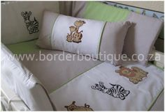 Jungle safari quilt bale set includes:    Cot bumper  Quilt  Mini scatter cushion  Fitted sheet (fits large cot)  Baby changing mat  2 X baby change mat covers    Linen 100% cotton  Cot bumper inner = easy breathe