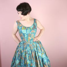 50s blue and brown FLORAL dress  very full by SartorialMatters