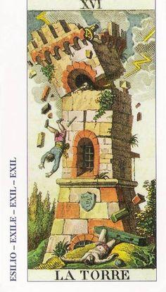 Todo sobre el Arcano 16: La Torre  Se representa la idea de la torre que se cae, que es un símbolo antiguo que representa el orgullo del hombre abatido. La imagen está acompañada de bolas de fuego que pueden ser una representación de lo que acompaña al rayo, pues se asocia la torre también con cierto episodio protagonizado por Zeus.