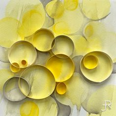 """JUDiTH+ROLFE — Original watercolor painting, with 3/8"""" high on-edge paper, in shades of yellow and gray. 229 x 229 mm / 9 x 9 in. Selling On Instagram, Under The Surface, Watercolor Artwork, Shades Of Yellow, Shadow Box, Paper Cutting, Custom Framing, Paper Art, Original Art"""