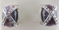 MACYS Amethyst Moonglow Glass Rhinestone Earrings NEW in Leatherette Jewelry Box #Macys #Stud