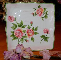 Platter, Square Vintage, Romantic with Roses, Love and Amore, Valentines Day Gift by TheBouncingFrogs on Etsy