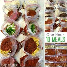 Beef Dump Recipes...  10 meals in just one hour -- Beef Hash, Taco Soup, Sloppy Joes, Spaghetti Sauce & Chili.