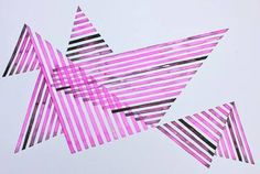Invisible Cities, Bird, Origami, Lines, Pink and Black, Abstract, Geometry