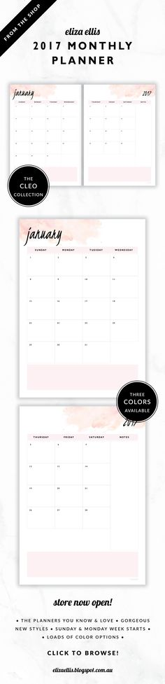 2017 Monthly Planner // The Cleo Collection by Eliza Ellis. Gorgeous watercolor and handwritten type design. Available in 3 colors – fairyfloss, nimbus and sherbet. Monday and Sunday week starts included. Documents print to A4 or A5.