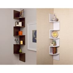 This unique corner wall-mount shelf has a fun and artsy design that will add to any wall decor you have. Five shelves are lined up on this walnut veneer piece on opposite sides, forming a corner shelf on both walls. It's both unique and stylish.